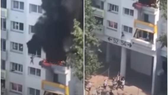 Dzieci wyskoczyły z 3. piętra, uciekając przed pożarem. Łapali je sąsiedzi. Dramatyczne nagranie