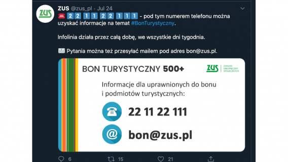 Informacja ZUS dotycząca bonu turystycznego