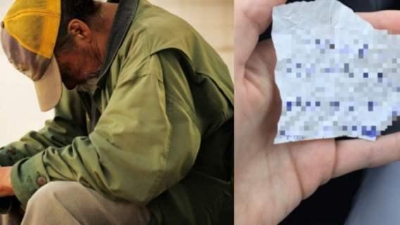 Bezdomny zostawił kobiecie wiadomość