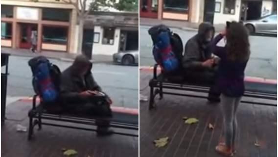 Dziewczynka podarowała bezdomnemu posiłek