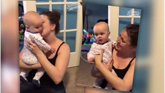 Kobieta nagrała filmik jak całuje swoje dziecko. Reakcja malucha rozbawi każdego