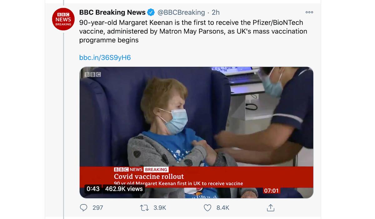 Pierwsza zaszczepiona kobieta