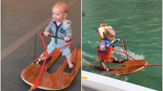 Dziecko szaleje na nartach wodnych