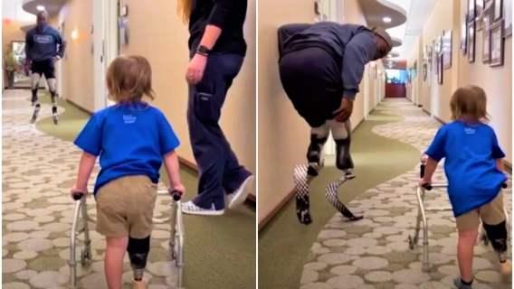Bohater sportu motywuje dwulatka