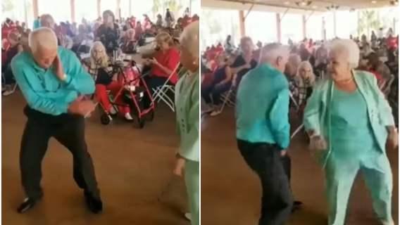 Taniec dwojga seniorów, którzy pokazali, że wiek nie ma znaczenia gdy chodzi o dobrą zabawę
